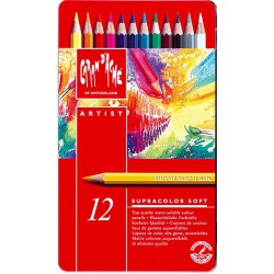 caran d'ache SUPRACOLOR Soft Aquarelle Assortiment 12 couleurs