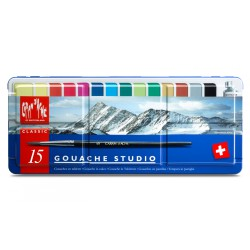 Caran d'Ache GOUACHE STUDIO Assortiment 15 couleurs en tablettes